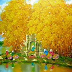 Autumn pond 03 - DNS6-Original Vietnamese Art