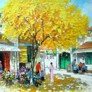 Autumn season 2-LM - Oil on Canvas painting by Vietnamese Artist Lam Manh