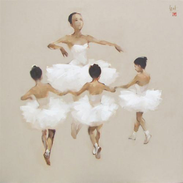 Ballerinas in white-Original Vietnamese Art