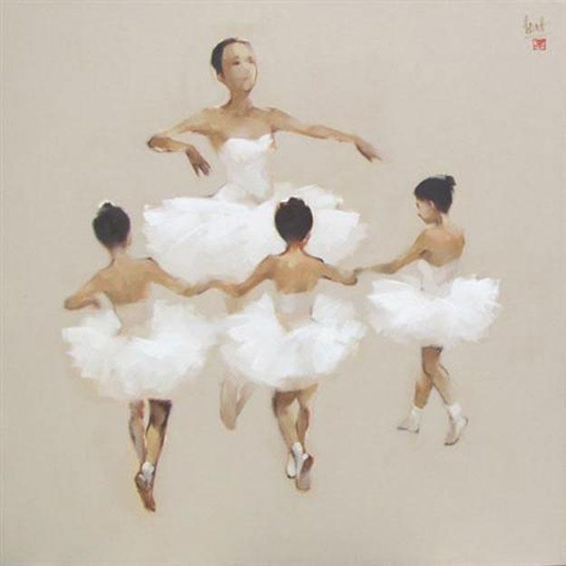 Ballerinas in white-Original Vietnamese Art