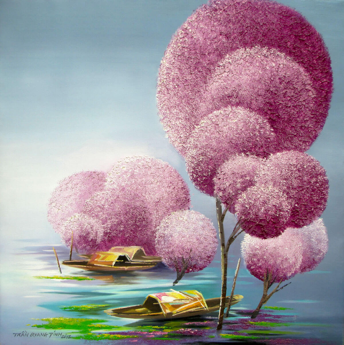 Blossom purple trees-Original Asian Art