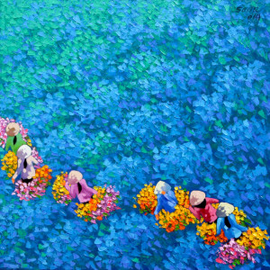 Blue flower field 02-60x60
