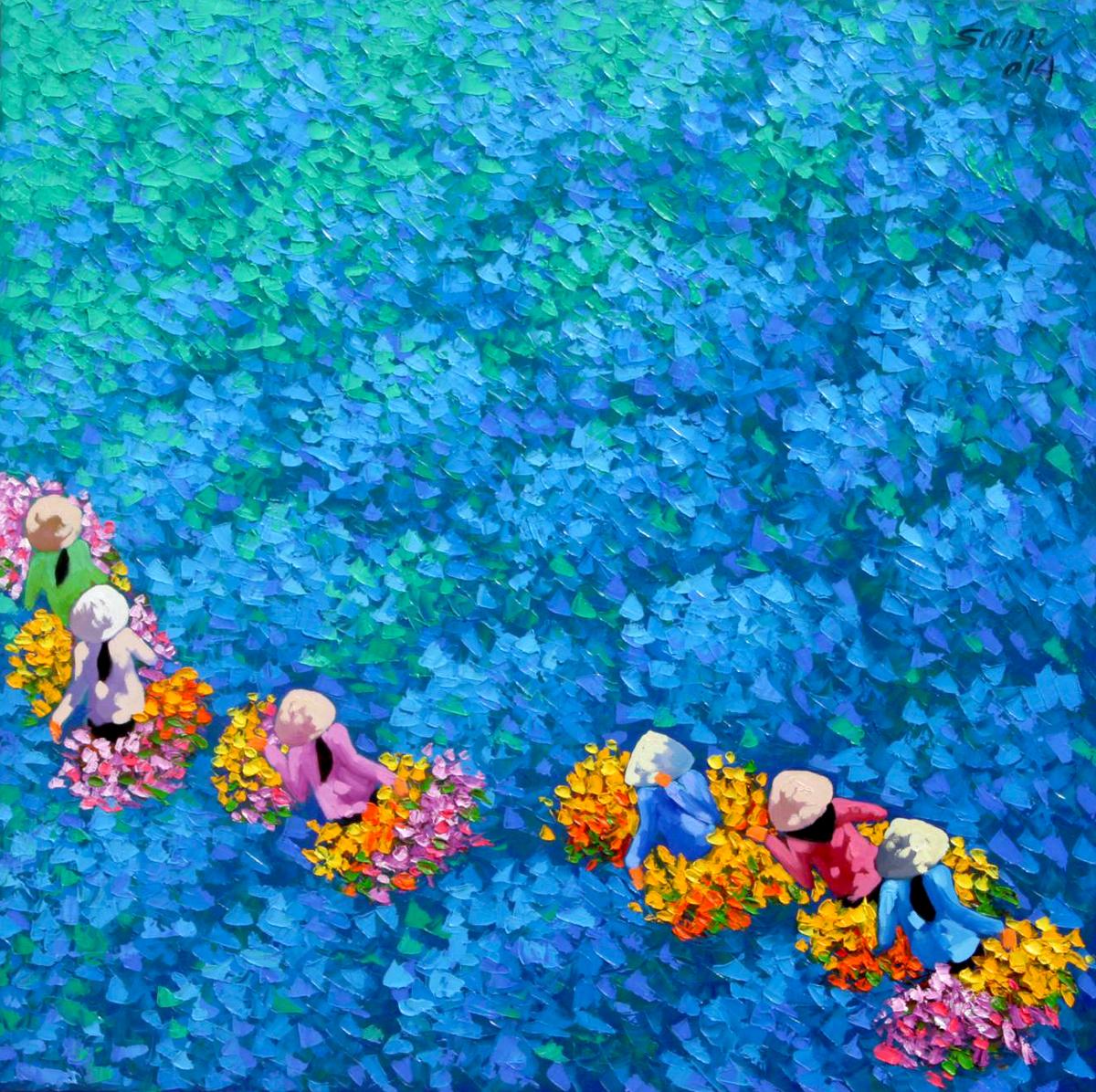 Blue flower field 02-60x60