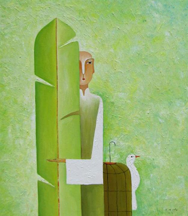 Boy with banana leaf 01-Original Asian Art