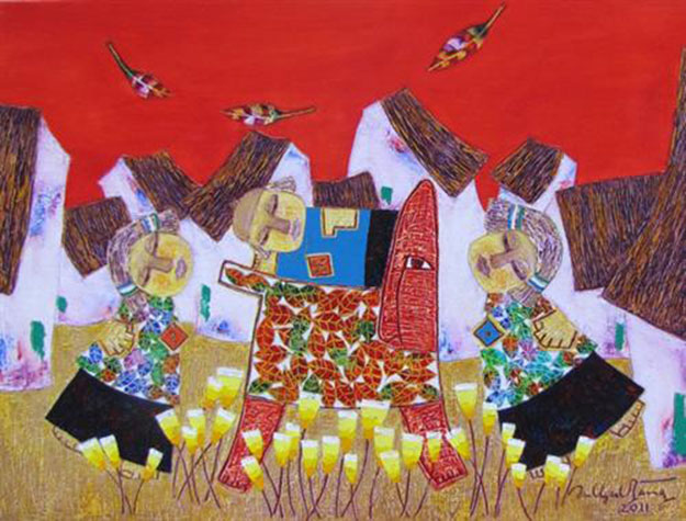 Childhood and the rocking horse-Vietnamese Painting