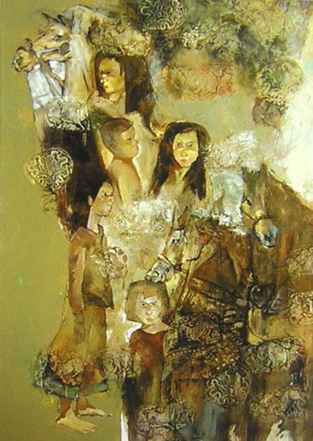 Children and horses -Original Vietnamese Art Gallery