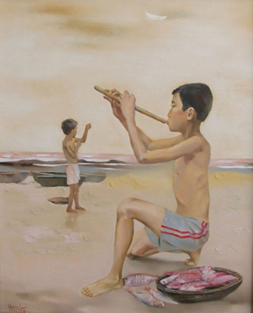Evening on the beach-Original Vietnamese Art Gallery