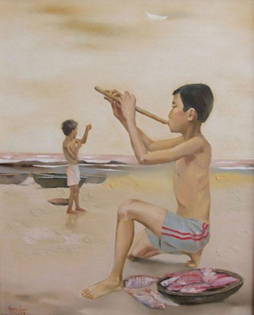 Evening on the beach-Original Vietnamese Art Gallery