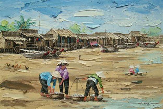 Fishing village 01-Original Vietnamese Art Gallery