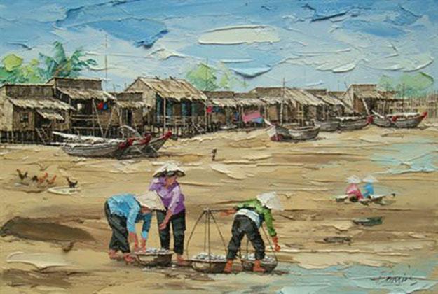 Fishing village 01-Original Vietnamese Art Gallery