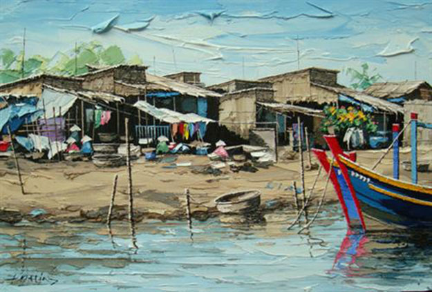 Fishing village at noon -Original Vietnamese Art Gallery