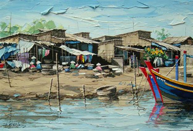 Fishing village at noon -Original Vietnamese Art Gallery