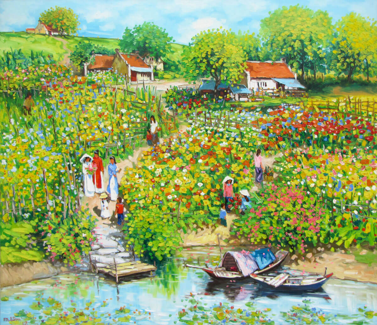 Flower Garden By The River Original Vietnamese Art