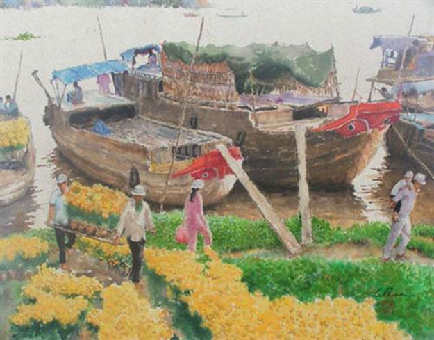 Flower market by river-Original Asian Art