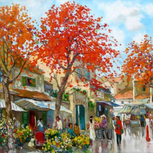Flower market in Spring 01-Original Vietnamese Art
