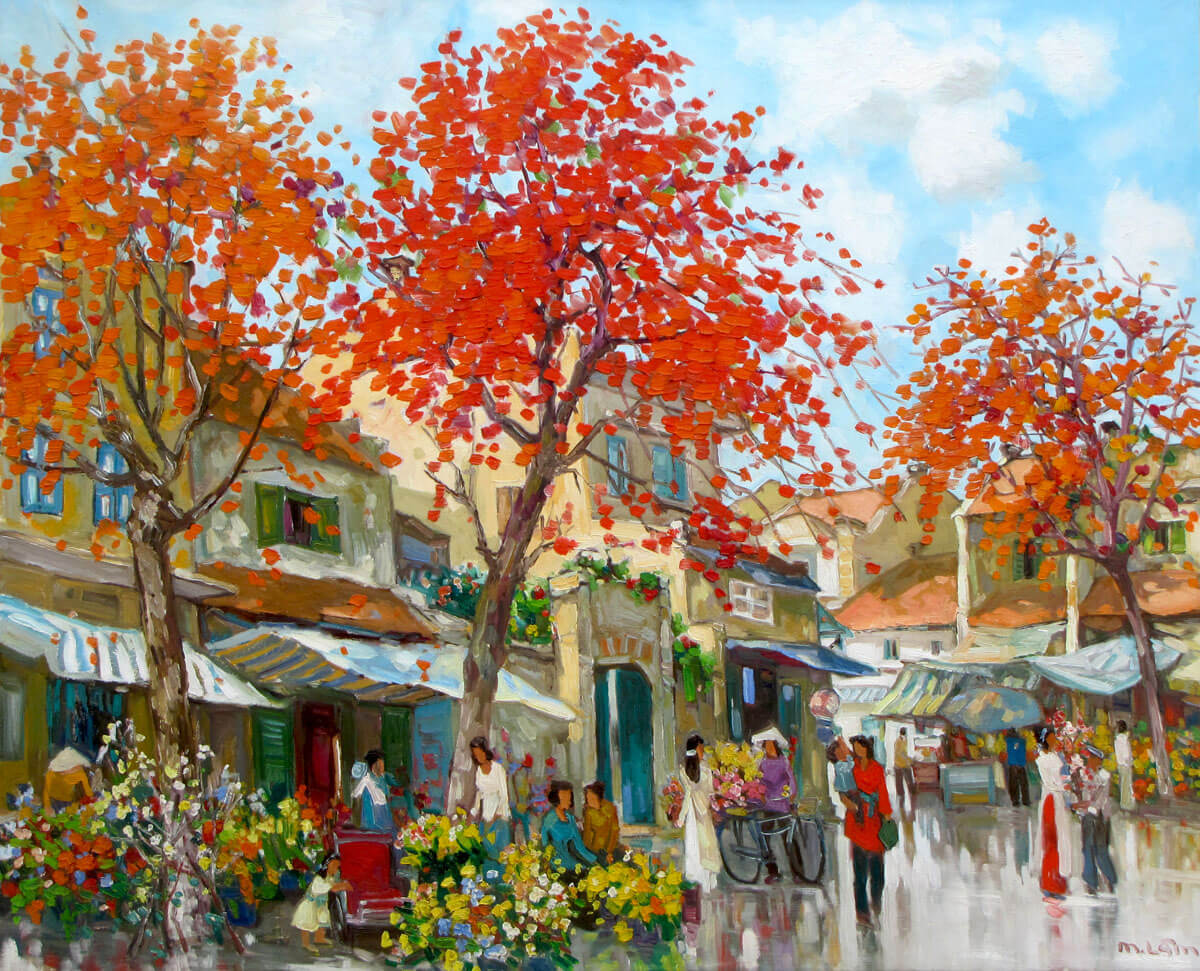 Flower market in Spring 01-Original Vietnamese Art