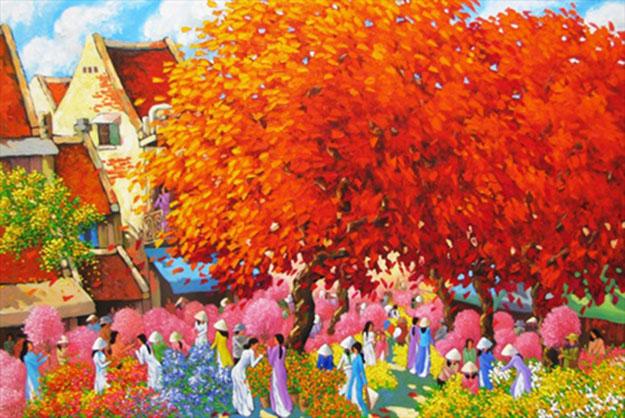 Flower market in Spring - DNS1-Original Vietnamese Art