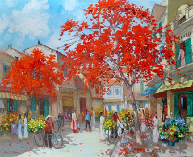 Flower market in Spring-Original Vietnamese Art