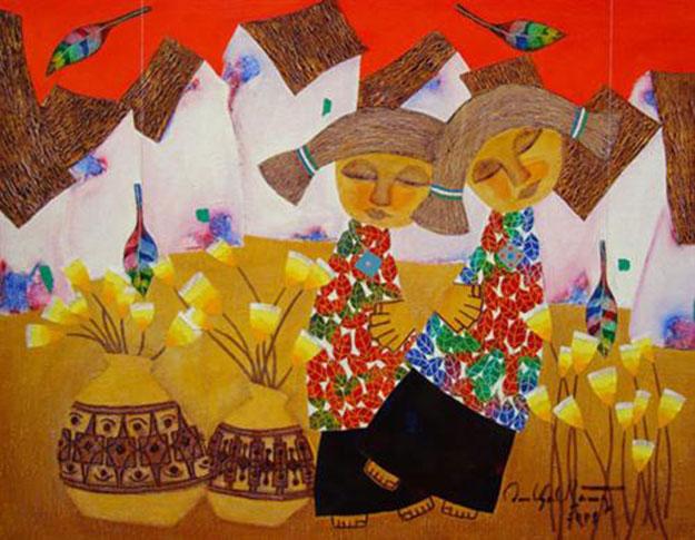 Flowers in town 01 -Vietnamese Painting