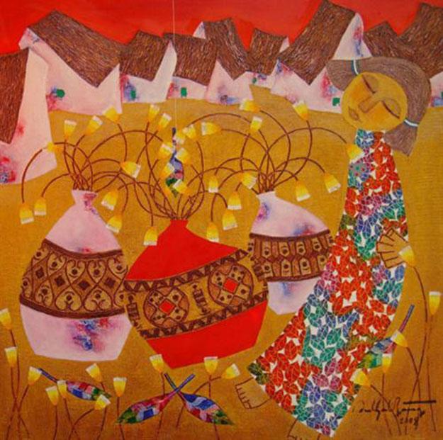 Flowers in town 02-Vietnamese Painting