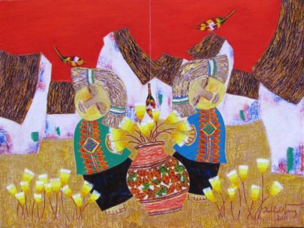 Flowers in town 03-Vietnamese Painting