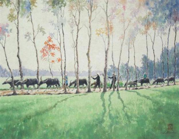Going to working field 01-Original Asian Art