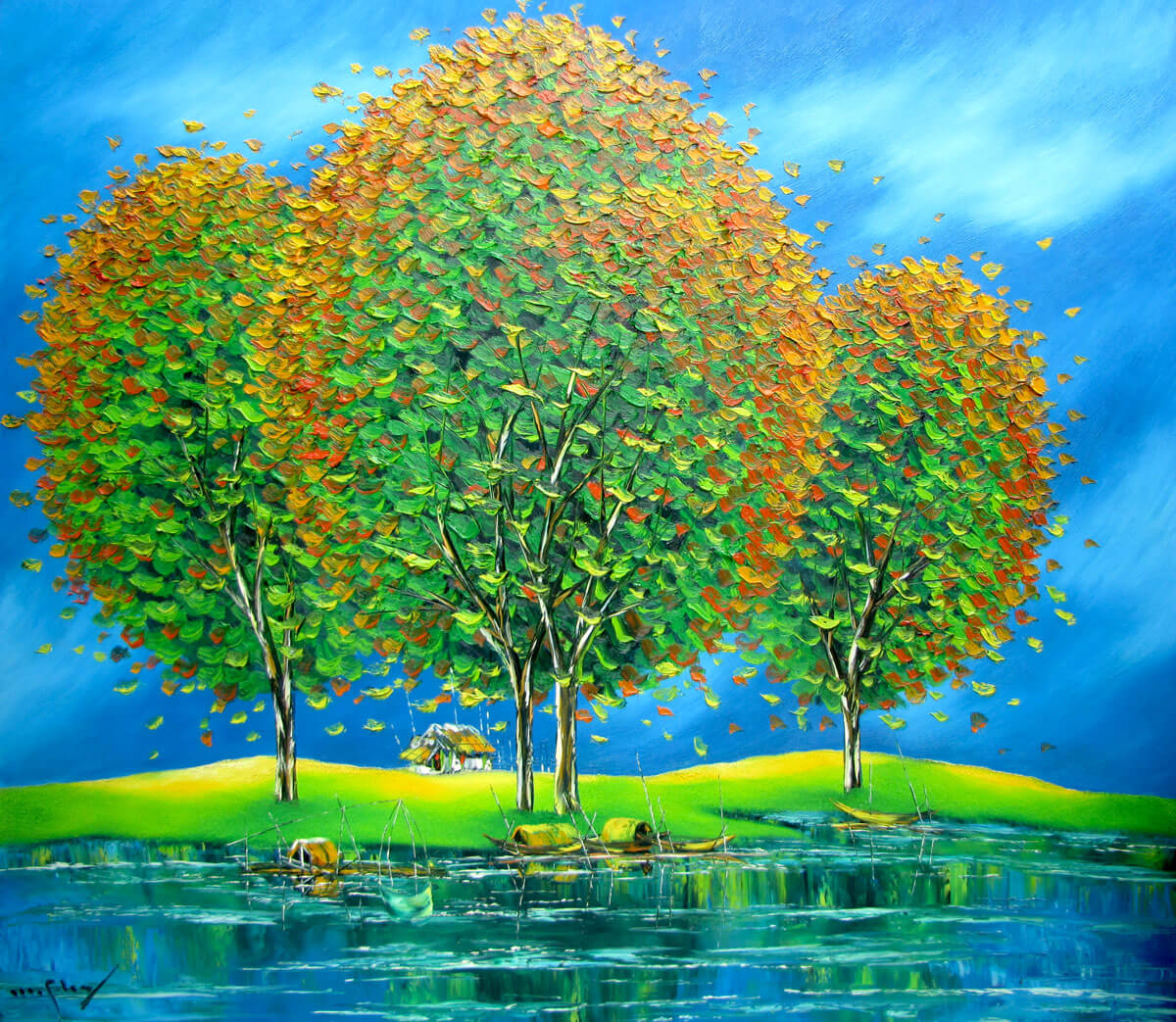 Green trees by the river-Original Asian Art