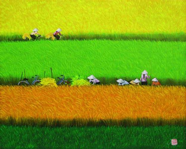 Harvest season 05-Vietnamese Painting