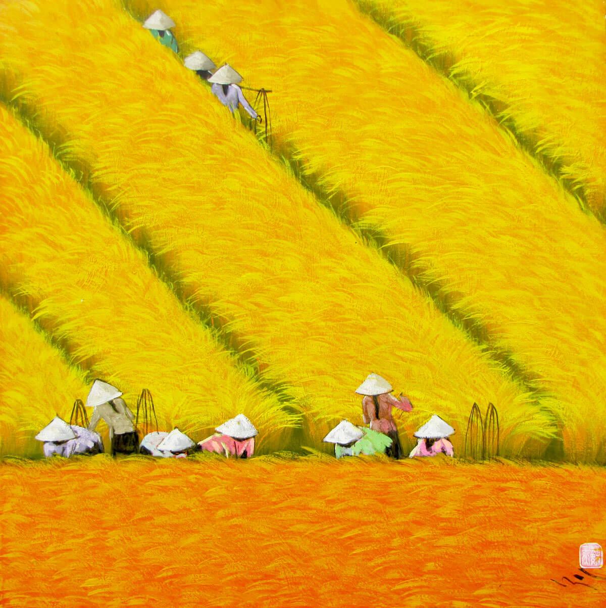 Harvest season 09-Vietnamese Painting