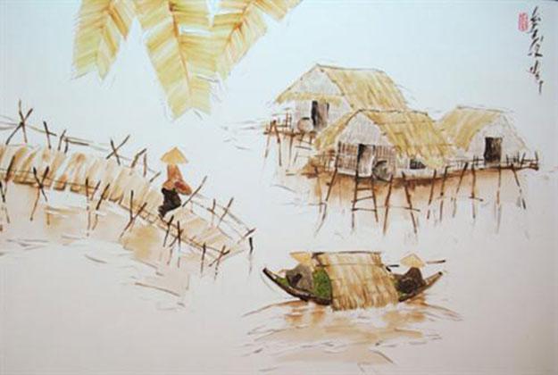 Houses on stilts-Original Asian Art