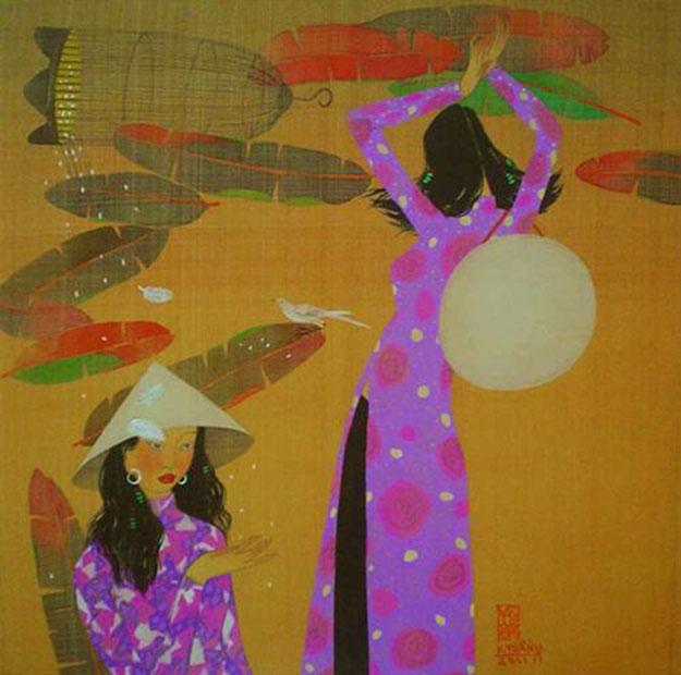 In the garden 04 -Vietnamese Painting