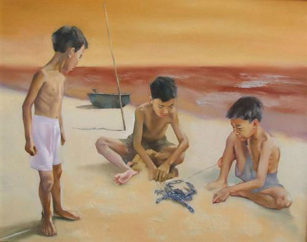 Kids playing with blue crab on the beach-Original Vietnamese Art Gallery
