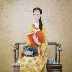 Lad enjoys the book with her cat-Original Asian Art