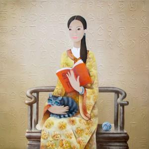 Lad enjoys the book with her cat-Original Asian Art