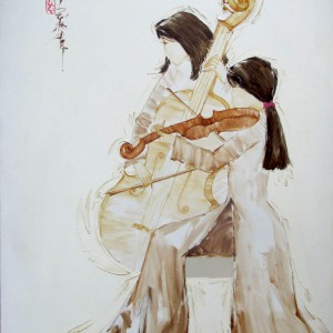 Ladies play music 01-Original Asian Art