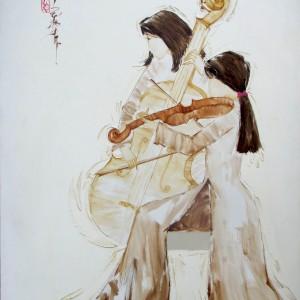 Ladies play music 01-Original Asian Art