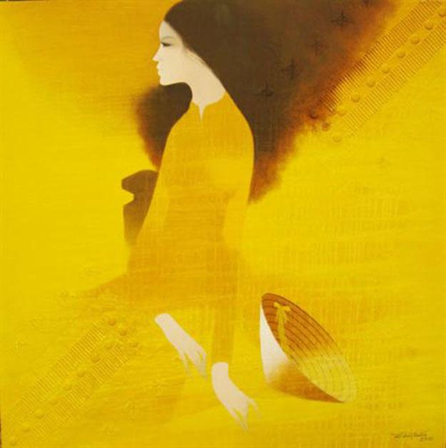 Lady in yellow dress-Original Asian Art