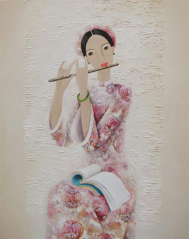 Lady plays flute-Original Asian Art