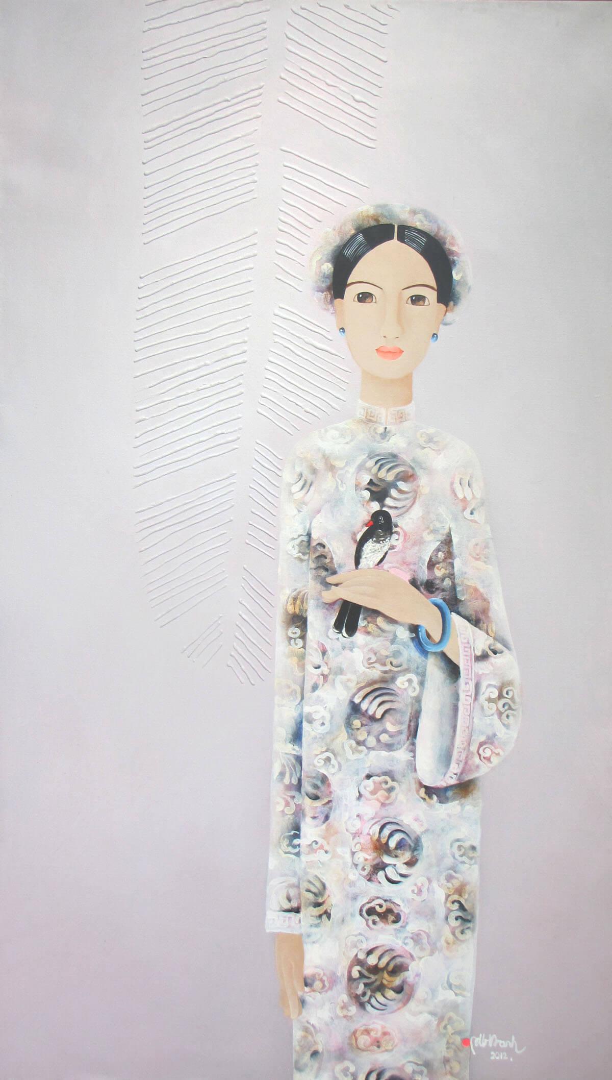 Lady with bird - BH-Original Asian Art