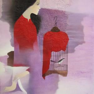 Lady with bird cage -Original Asian Art