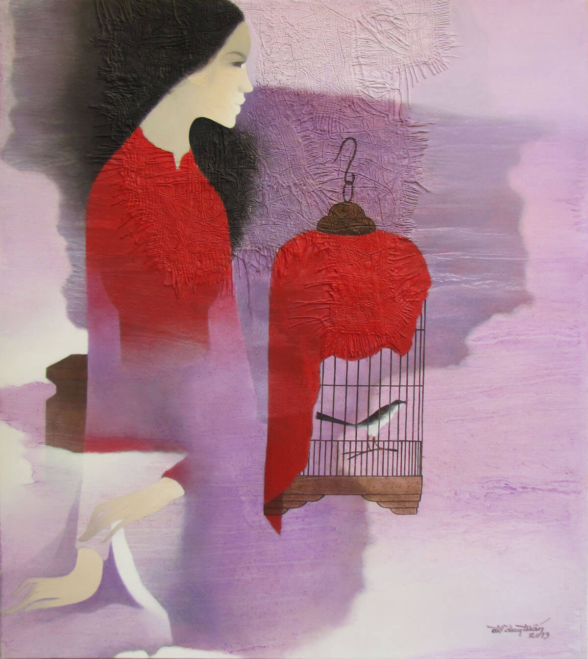 Lady with bird cage -Original Asian Art