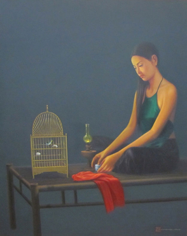 Lady with birdcage-Vietnamese Painting