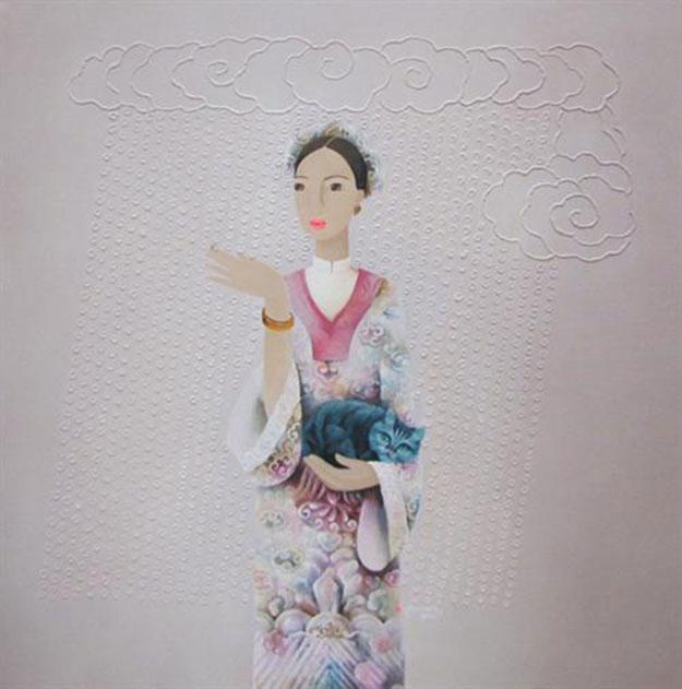 Lady with cat- BH-Original Asian Art