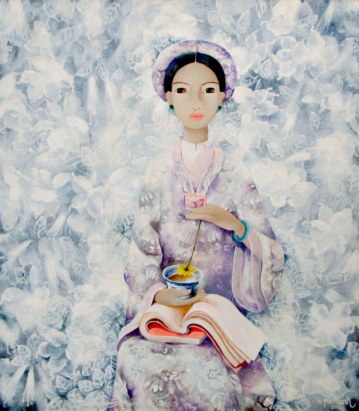 Lady with cup of tea- 70x80
