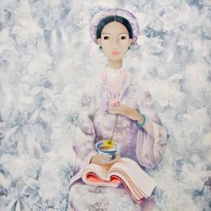 Lady with cup of tea-Original Asian Art