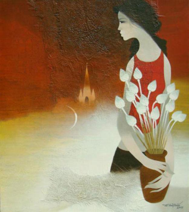Lady with lotus flower-Original Asian Art