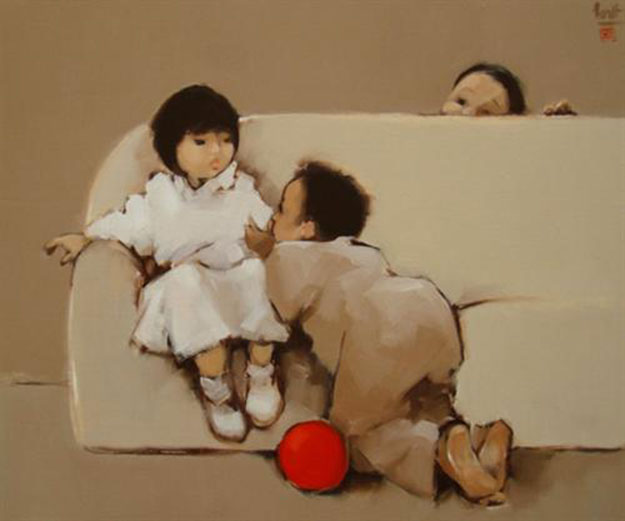 Little kids play hide and seek-Original Vietnamese Art