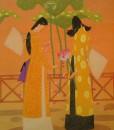 Lotus flowers-Vietnamese Painting