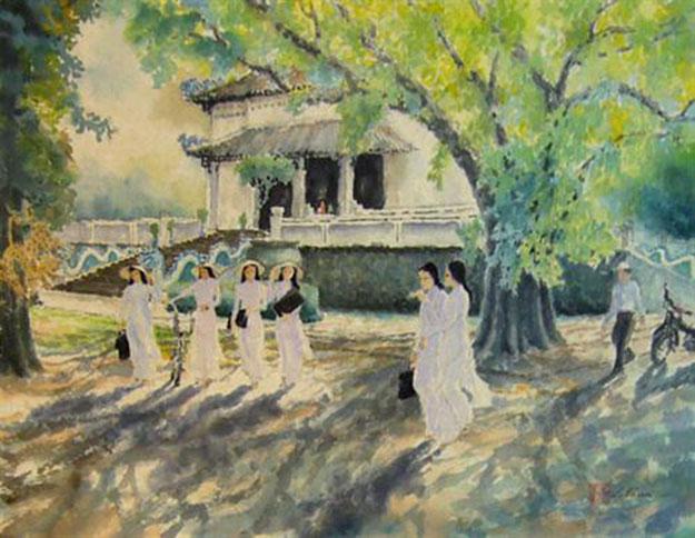 Morning sun in the park-Original Asian Art
