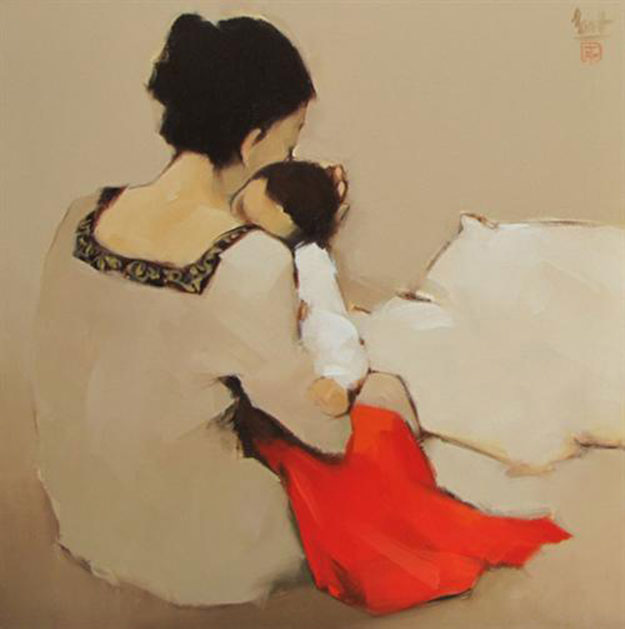 Mother and Child 01-Original Vietnamese Art